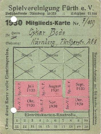 Mitgliedsausweis der SpVgg Fürth von 1930