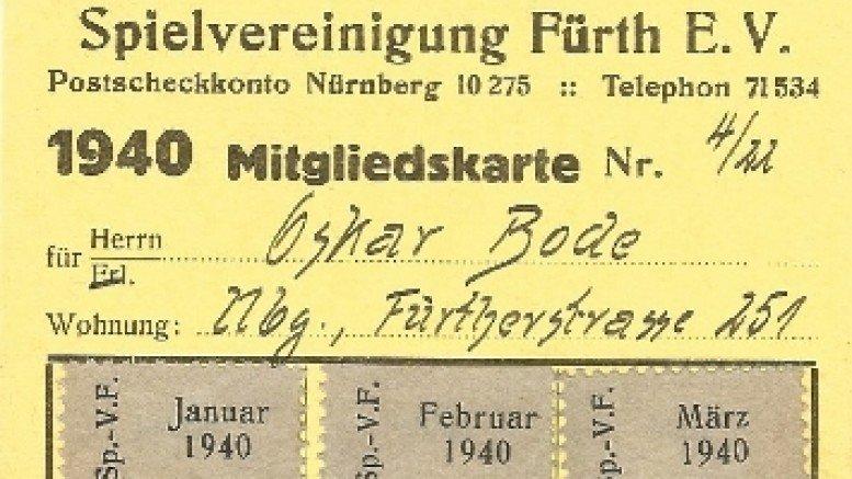 Mitgliedsausweis der SpVgg Fürth von 1940