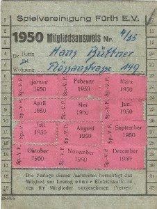 Mitgliedsausweis der SpVgg Fürth von 1950