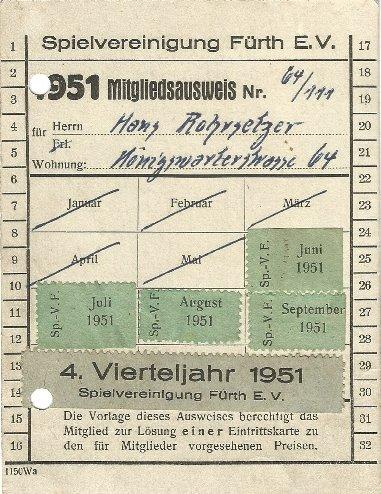Mitgliedsausweis der SpVgg Fürth von 1951