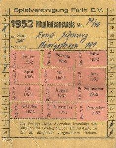 Mitgliedsausweis der SpVgg Fürth von 1952