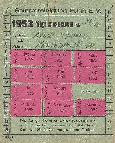 Mitgliedsausweis der SpVgg Fürth von 1953