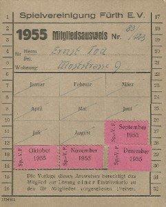 Mitgliedsausweis der SpVgg Fürth von 1955