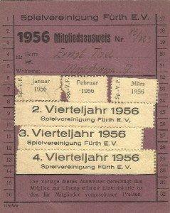 Mitgliedsausweis der SpVgg Fürth von 1956