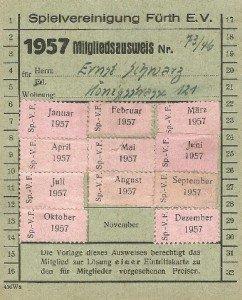 Mitgliedsausweis der SpVgg Fürth von 1957