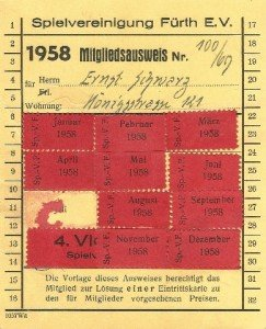 Mitgliedsausweis der SpVgg Fürth von 1958