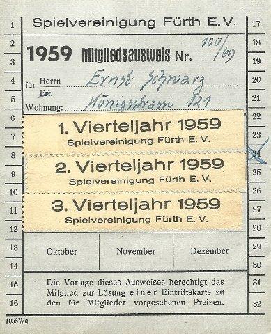 Mitgliedsausweis der SpVgg Fürth von 1959