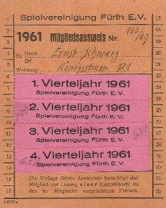 Mitgliedsausweis der SpVgg Fürth von 1961
