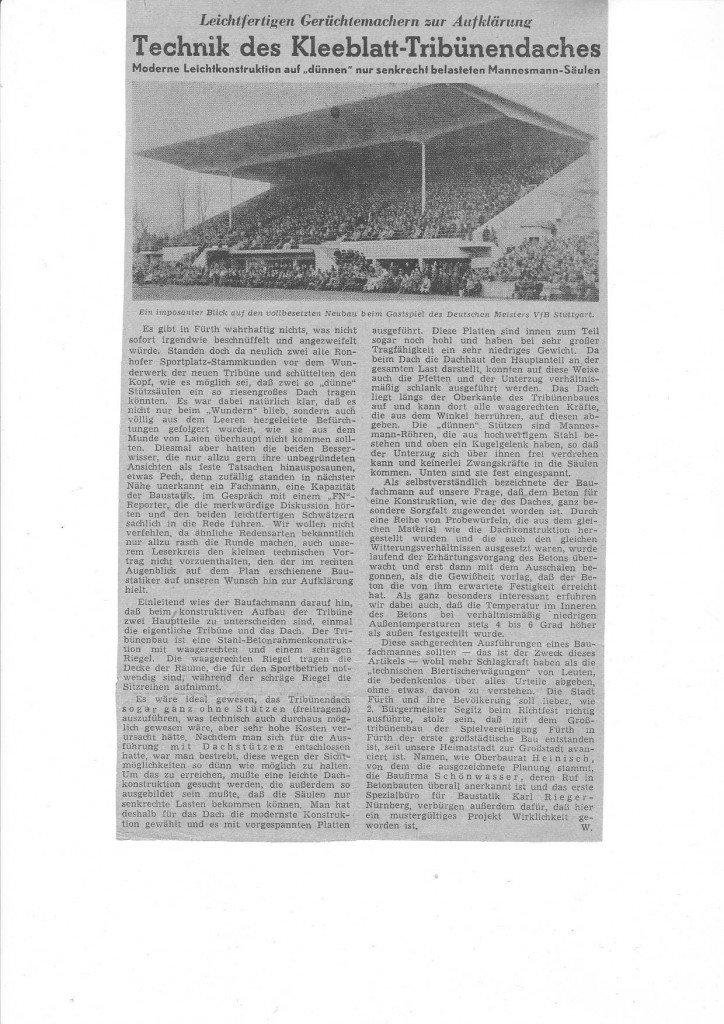 Zeitungsbericht zur Technik im Tribünendach des Rohnhofs