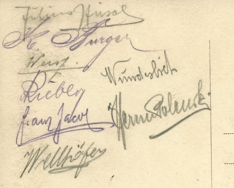 Karte mit Unterschriften der Meistermannschaft 1914