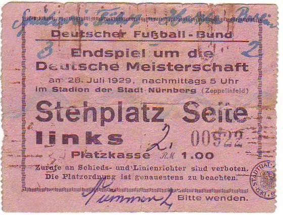 Endspielticket zur Deutschen Meisterschaft 1929