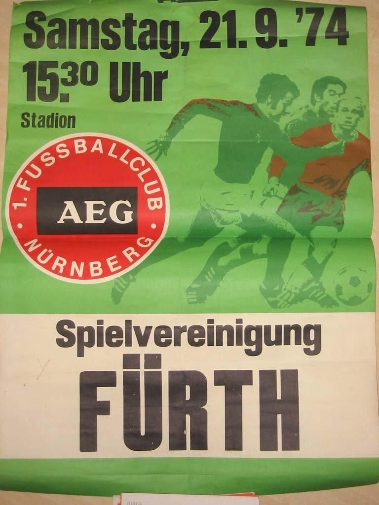Plakat 1.FC Nürnberg - SpVgg Fürth 1974