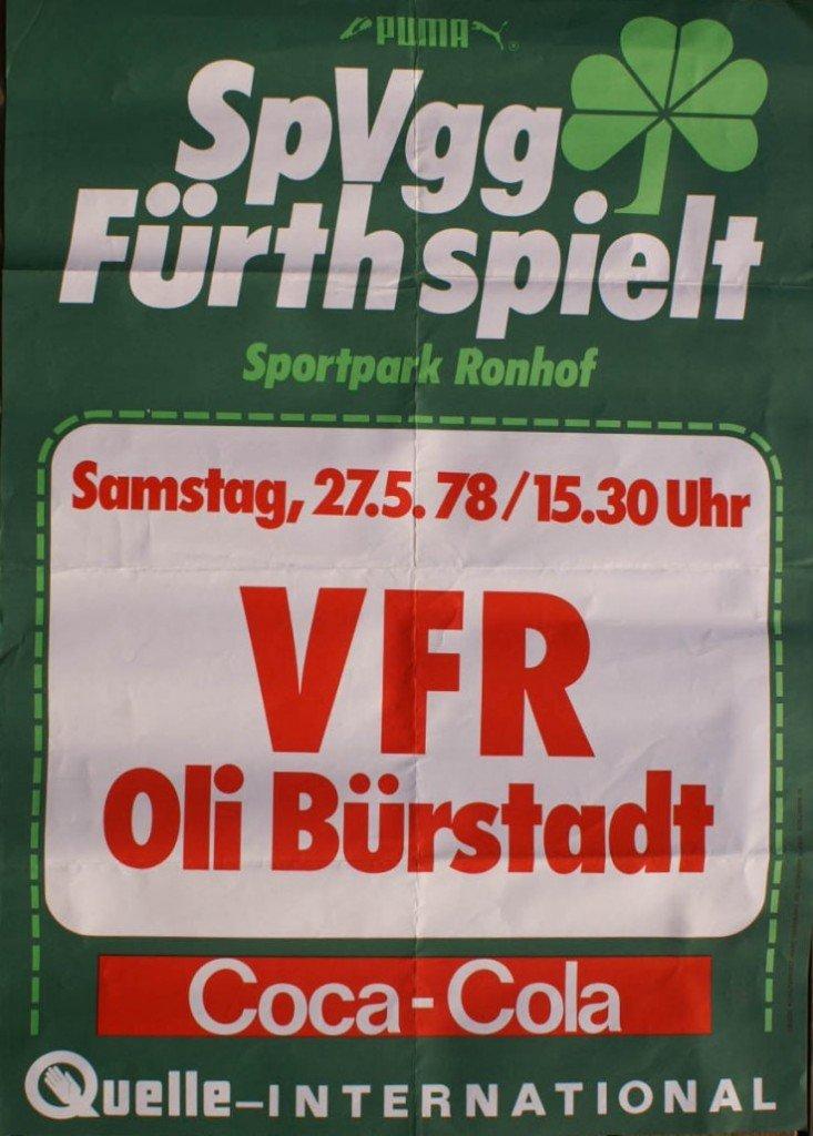 Plakat SpVgg Fürth - Oli Bürstadt 1978
