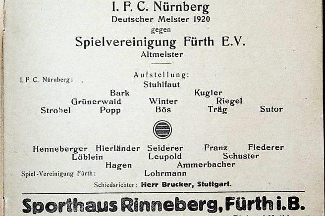 Programmheft der SpVgg Fürth gegen den 1.FC Nürnberg vom 7.11.1920