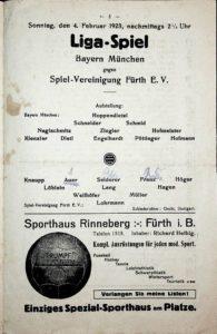 Programmheft der SpVgg Fürth gegen den FC Bayern München vom 4.2.1923