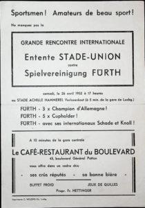 Programmheft vom Spiel Stade-Union gegen SpVgg Fürth am 26.04.1952