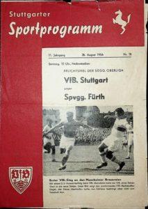 Programmheft vom Spiel VfB Stuttgart gegen SpVgg Fürth am 26.8.1956