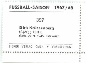 Sicker Sammelbild, 1967/68; Bild 397. Dirk Krüssenberg (Tor)