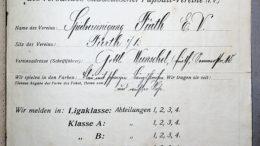 Spielermeldebogen der SpVgg von 1912