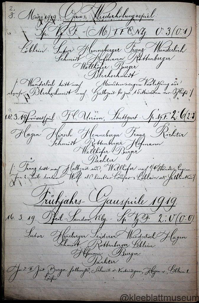 Chronik der Spiele der SpVgg Fürth 1919