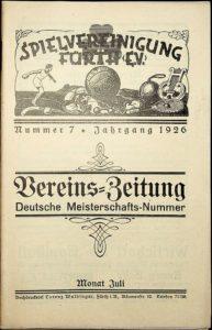Vereinszeitung der SpVgg Fürth von 1926, Nummer 7. Erschien zur 2. Deutschen Meisterschaft